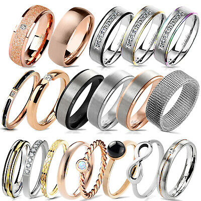 Damen Ring Herren Ring Band Ring Fingerring Partnerringe Edelstahl Ring RS57