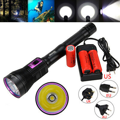 Diving 8000LM CREE XHP70 LED Scuba Waterproof Flashlight 18650/26650 Torch LAMP