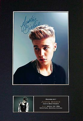 JUSTIN BIEBER No2 Signed Mounted Autograph Photo Prints A4 444
