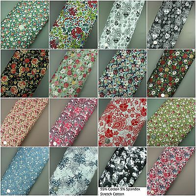 Floral 100% Cotton Fabric Dress Craft Extra Wide per Metre or Fat Quarter