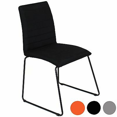Charles Jacobs Fabric Dining Chair Ribbed Simple Modern Style w/ Metal Legs