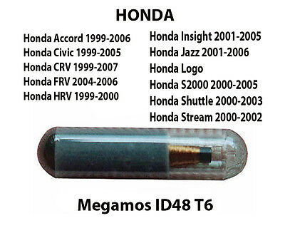 Honda Megamos Id48 Transponder Chip Civic Frv Hrv Jazz Accord Logo S2000