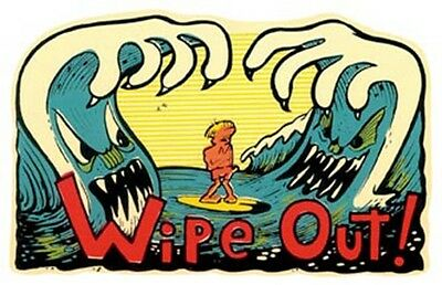 Wipe Out   Vintage-style  1960's Style Travel Surf Sticker  Decal