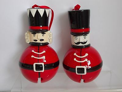Pair Nutcracker Metal Soldier Bells Christmas Tree Decorations