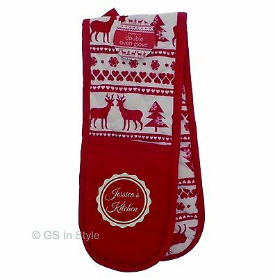 Personalised Christmas Double Oven Gloves Embroidered Name Stag Motif