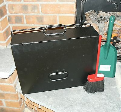 Ash Carrier Black Hot Ash Tidy Box Bucket Fireplace Pan C/W Brush and Shovel