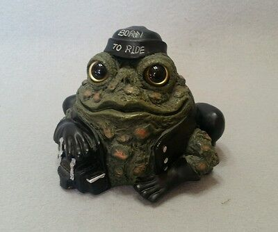 """Toad Hollow Biker Frog 5"""" Figurine Born To Ride Motorcycle"""