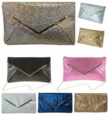 New Women'S Metal Trim Chain Shimmer Glitter Envelope Evening Clutch Bag