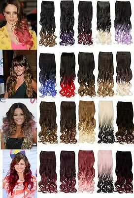 "Dip Dye One Piece Synthetic Hair Extension 20"" Weft Hair Piece Clip In Curly"