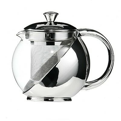 New 700ml Stainless Steel Glass Faced Teapot with Infuser Infuser