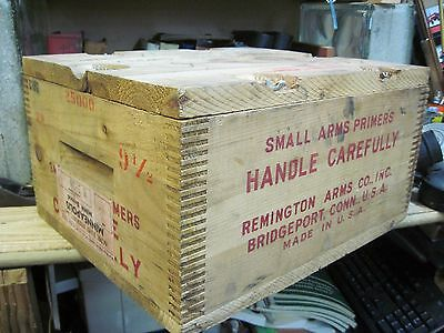 EMPTY REMINGTON ARMS PRIMERS SHELL BOX wood wooden SHIPPING crate ORIGINAL