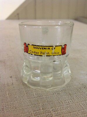 Vintage Antique Cedar Point Ohio Souvenir Clear Glass Handled Shot Glass