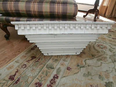 Antique Folk Art Creamy White Wall Shelf~Secret Compartment~Dental Moulding