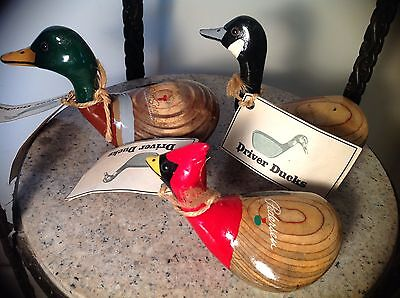 Vintage Hand Carved & Painted Wood Driver Ducks Club #1 Head Mallard Duck