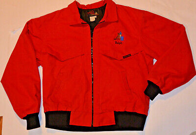 Rodeo Canvas Jacket! Bright Red By Tex Tan! Embroidered Front & Back!/quilted M