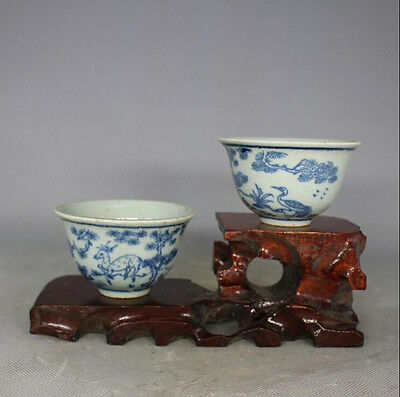 Chinese Ming Dynasty blue and white porcelain fiower birds cup one pair
