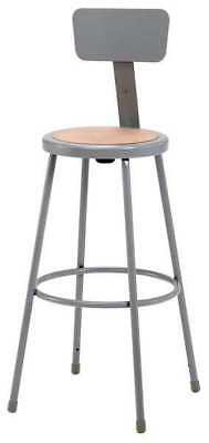 """National Public Seating Round Stool with Backrest, Height 30""""Gray, 6230B"""