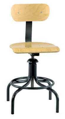 "Bevco Square Stool with Backrest, Height 20"" to 28"", 1411"