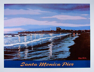 VINTAGE Travel Poster SANTA MONICA PIER California ORIGINAL by W. Harold Hancock