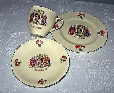 Queen Elizabeth 2nd Porcelain Commemorative Cup , Saucer And Plate , Visit to NZ