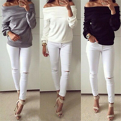 Fashion New Women Off Shoulder Solid Long Sleeve Casual Tops Blouse Tee T-shirt