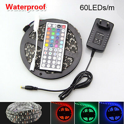 5M RGB 5050 SMD Waterproof 300 LED String Strip Light + IR Remote 12V Power