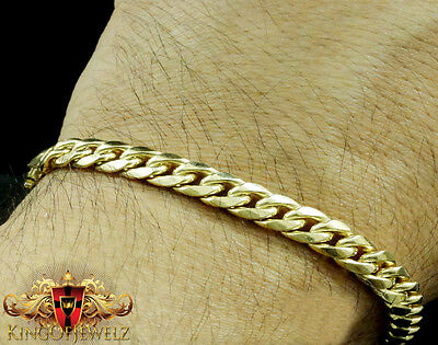 10k Yellow Gold Mens Womens Solid Cuban Curb Link Bracelet Chain 6mm-7mm 9 Inch