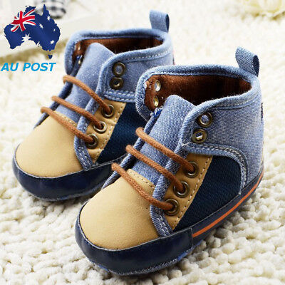 Fashion Toddler Baby Infant Boy Soft Sole Crib Shoes Canvas Prewalker 0-18 Month