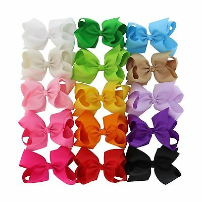 Chiffon 15 Colors 6in Large Big Grosgrain Ribbon Hair Bows WITH Alligator Cli...