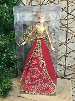 Gisela Graham red 'Stately Home' tree top Christmas fairy angel 28cm RRP £23.95