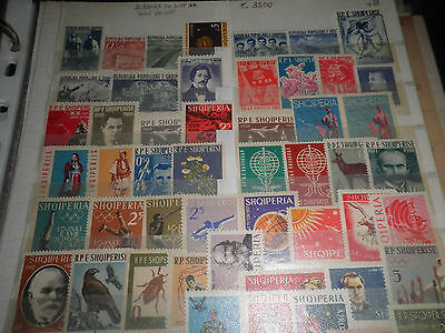 """Francobolli Stamps Albania 70 Different Stamps """"Years 50 - 60"""" Mnh** Lot (Cat.3)"""