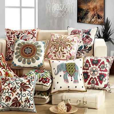 Ethnic Embroidery Sofa Cushion Cover Throw Pillow Case Home Car Decoration 18""