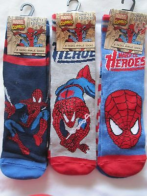 "Bnwt- 6 ""Marvel Comics Spiderman"" Socks - 6-8.5, 9-12, 12.5-3.5"