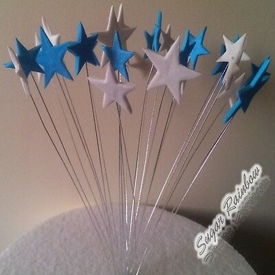 24 Edible sugar cake decorations stars on wires cake toppers BLUE/WHITE