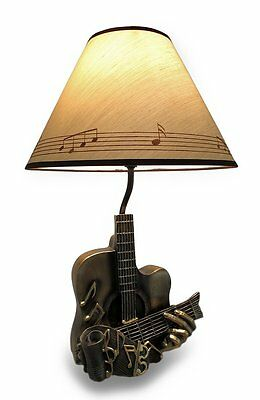 """20"""" Height Acoustic Illuminations Guitar Musical Table Lamp with Shade Decor"""