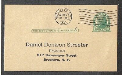 1931 Us Postal Card Jefferson 1C One Cent Approved 4119 Brooklyn Ny Pm