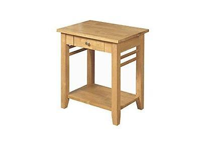 Oak Finish End Table Solid Wood / Hard Wood Lamp Table 1 Drawer / Side Table / L