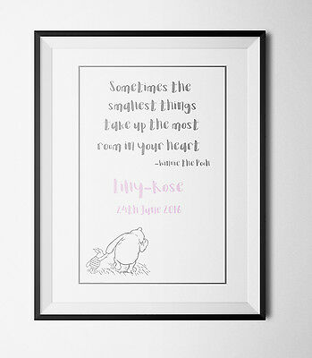 PERSONALISED Winnie the Pooh quote print, Baby/Birth Nursery Picture