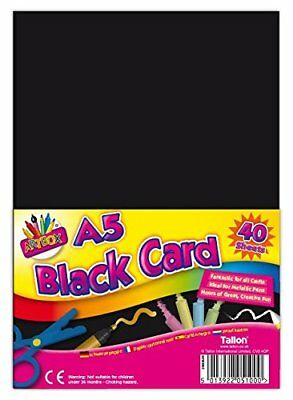 A5 X 40 SHEETS ACTIVITY CARD BLACK 250gsm QUALITY ART CRAFT OFFICE COLLAGE USE