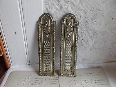 French antique nicely brass door push plates finger patina  a pair