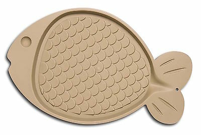 Loving Pet Bella Spill-Proof Cat Mat Fish Shaped Tan