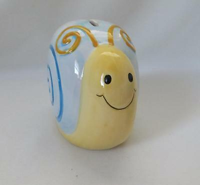 Whimsical Snail Coin Bank Blue and Yellow Ceramic