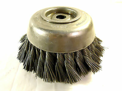 "Osborn 6""-7"" Full Standard Twist Knot Wire Cup Brush W/5/8""-11 Thread, New, USA."