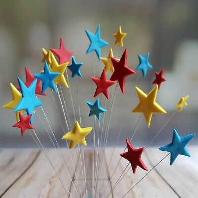 24 Edible sugar cake decorations stars on wires toppers ROYAL BLUE/YELLOW/RED