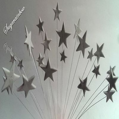 24 Edible sugar cake decorations stars on wires wired cake toppers SILVER