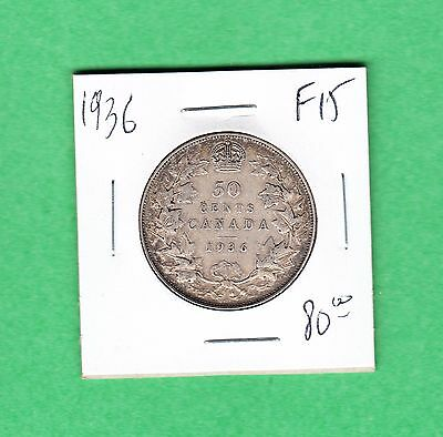 1936 Canada - Fifty Cents - Fine/VF - 50 Cents Coin -