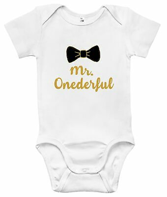 Mr. Onederful Funny One-piece Baby Bodysuit Cute Baby Clothes for Boys