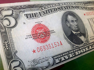 1928 C Lincoln Five Dollars $5 *star* Red Seal United States Note Legal Tender