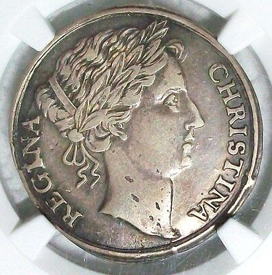 Nd(1651) Sweden Christina Silver 2 MarkNgc Xf-45 L@@k