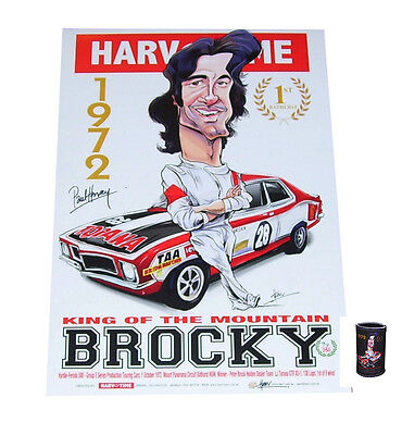 Peter Brock signed Limited Edition A3 Print plus matching Stubby Holder